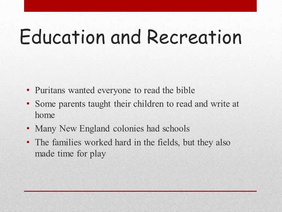 Education and Recreation