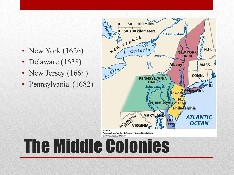 The Middle Colonies New York (1626) Delaware (1638) New Jersey (1664)