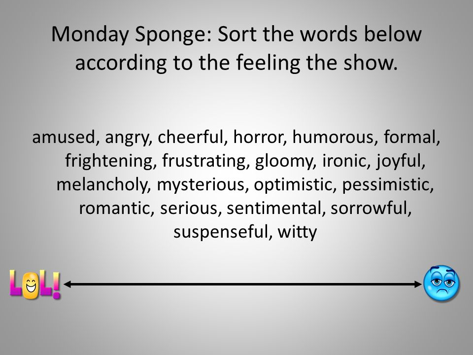 Monday Sponge: Sort the words below according to the feeling the show.