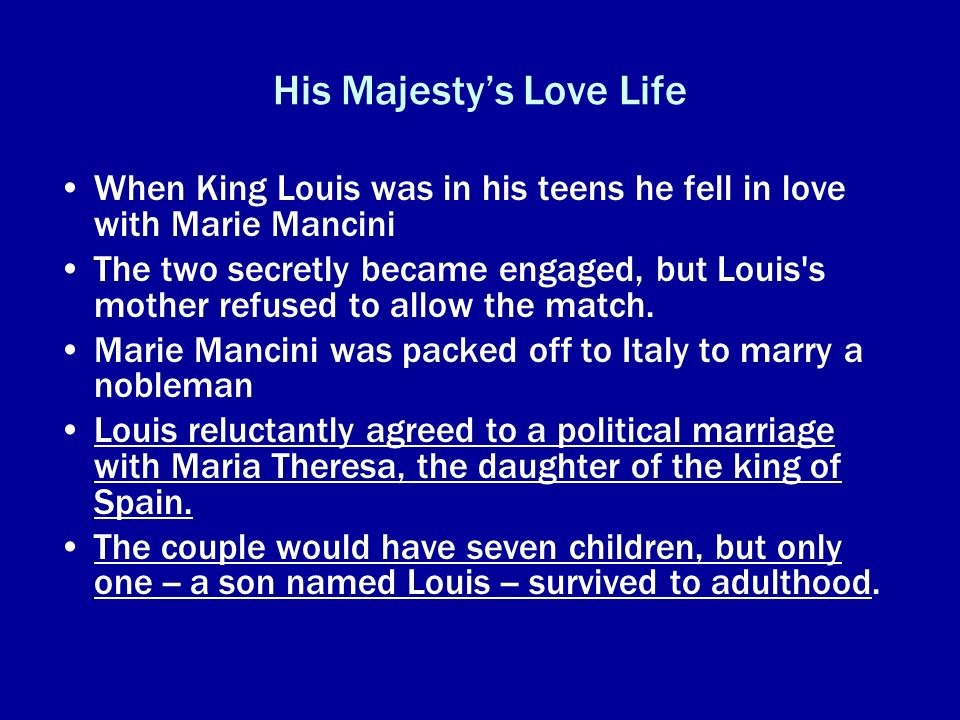 His Majesty's Love Life