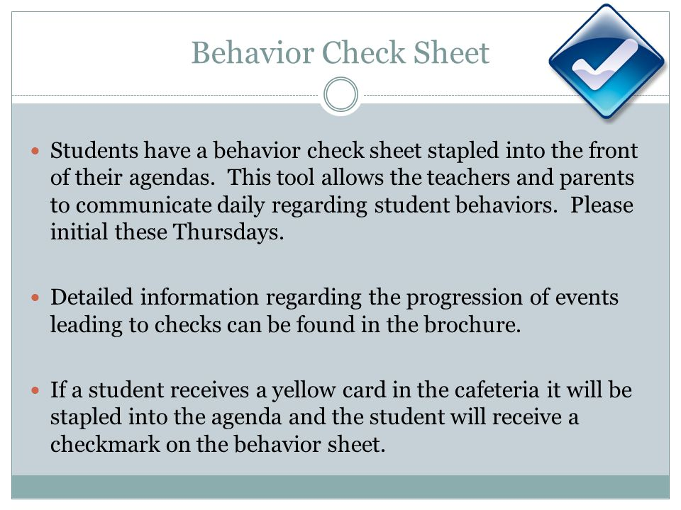 Behavior Check Sheet