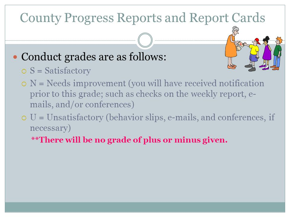 County Progress Reports and Report Cards