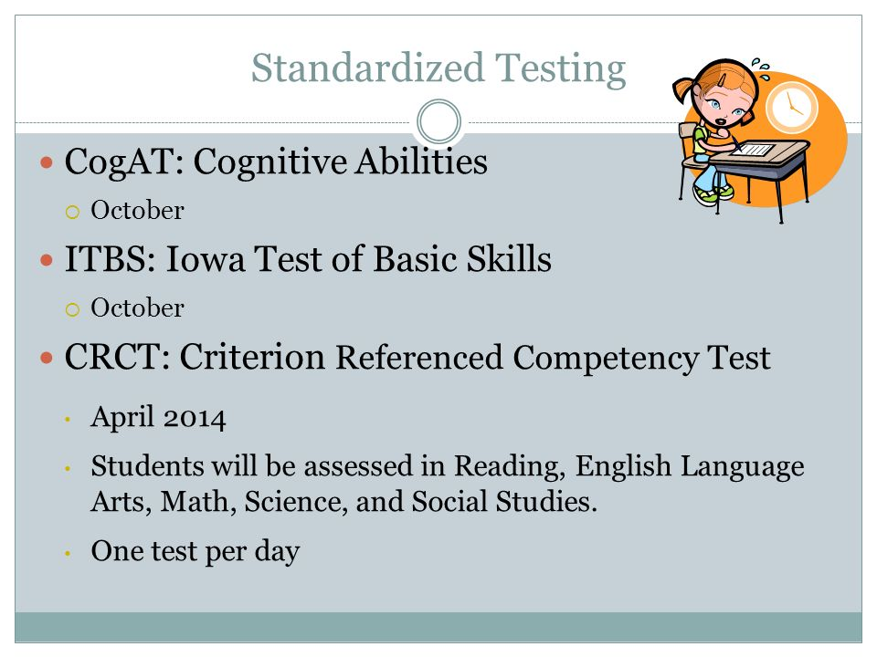 Standardized Testing CogAT: Cognitive Abilities