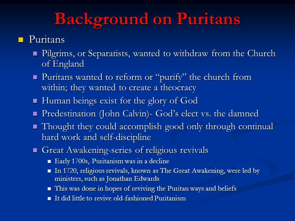 Background on Puritans