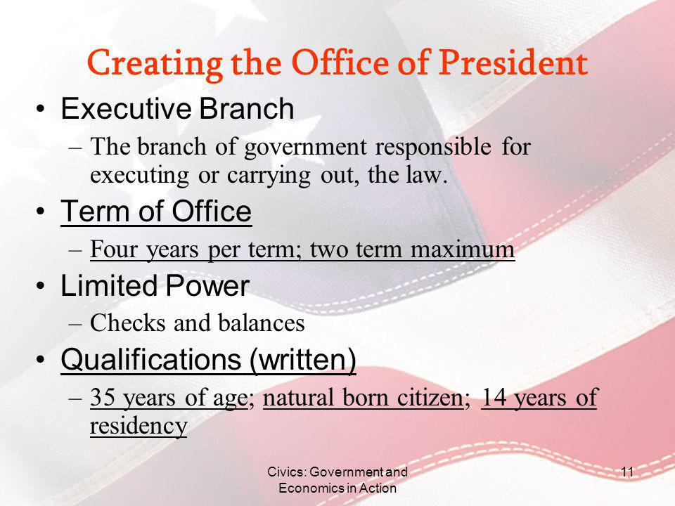 Creating the Office of President