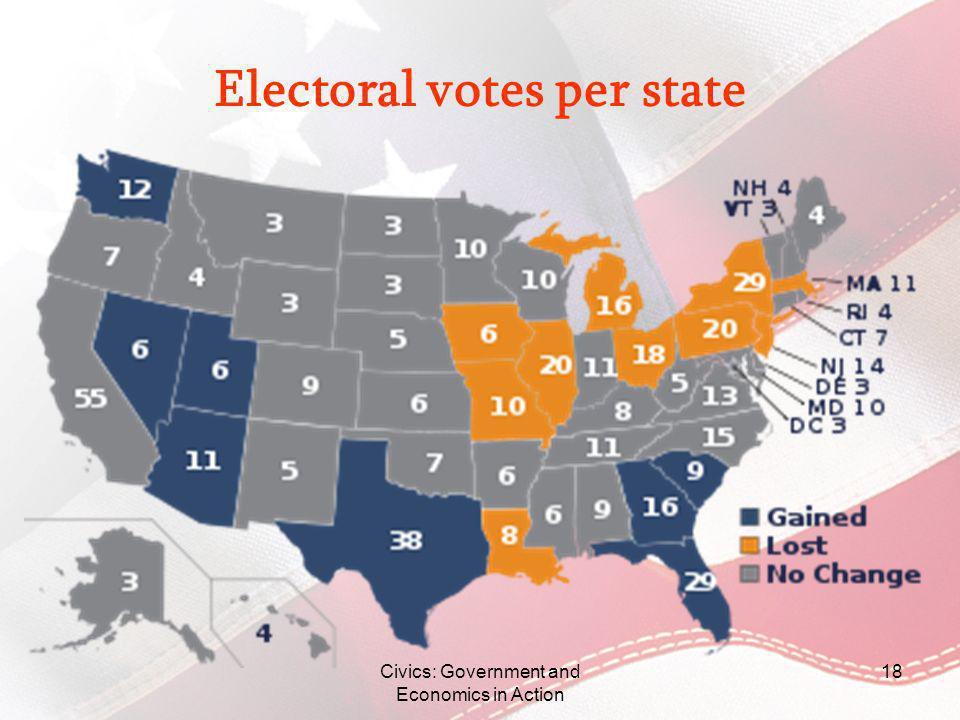 Electoral votes per state