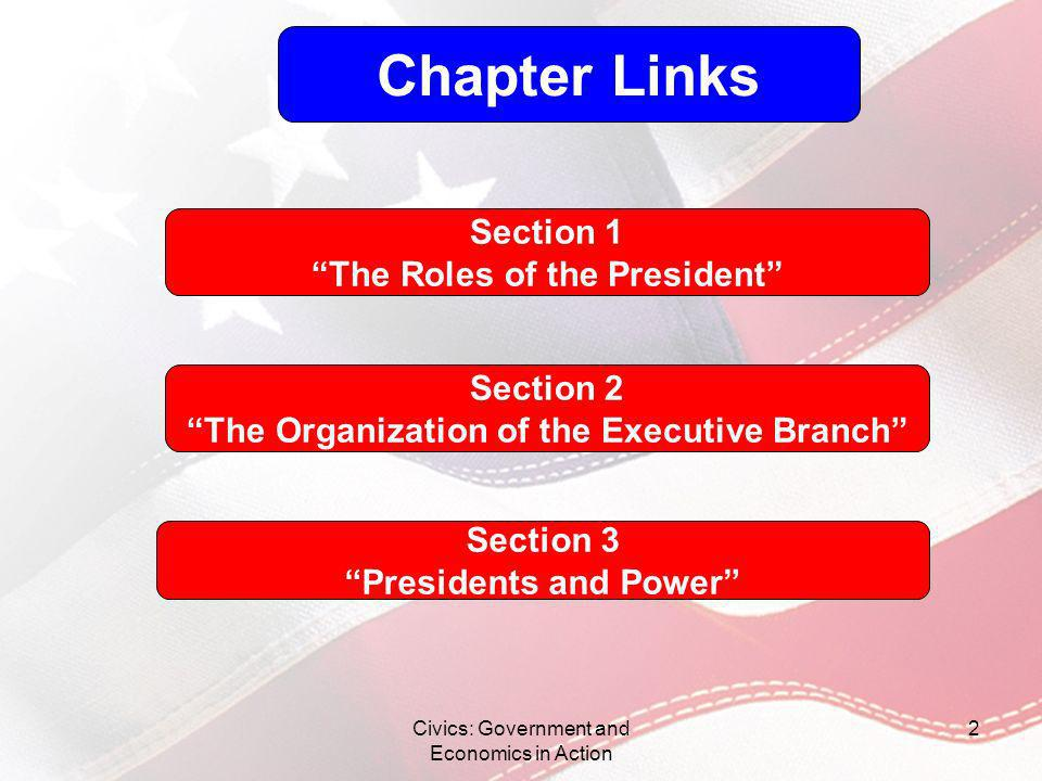 Chapter Links Section 1 The Roles of the President Section 2