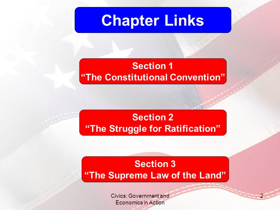 Chapter Links Section 1 The Constitutional Convention Section 2