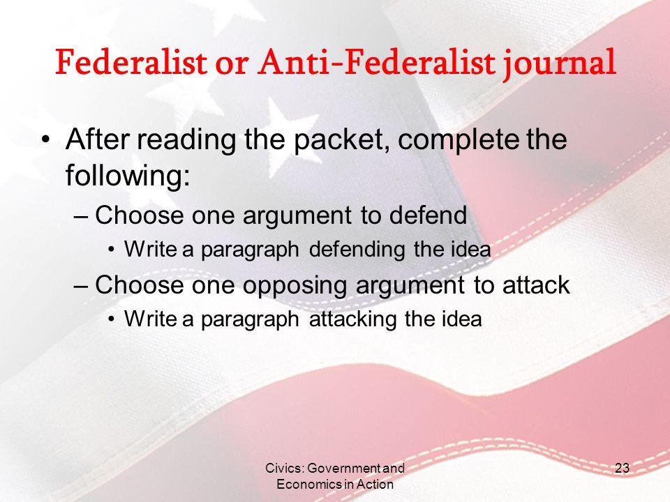 Federalist or Anti-Federalist journal