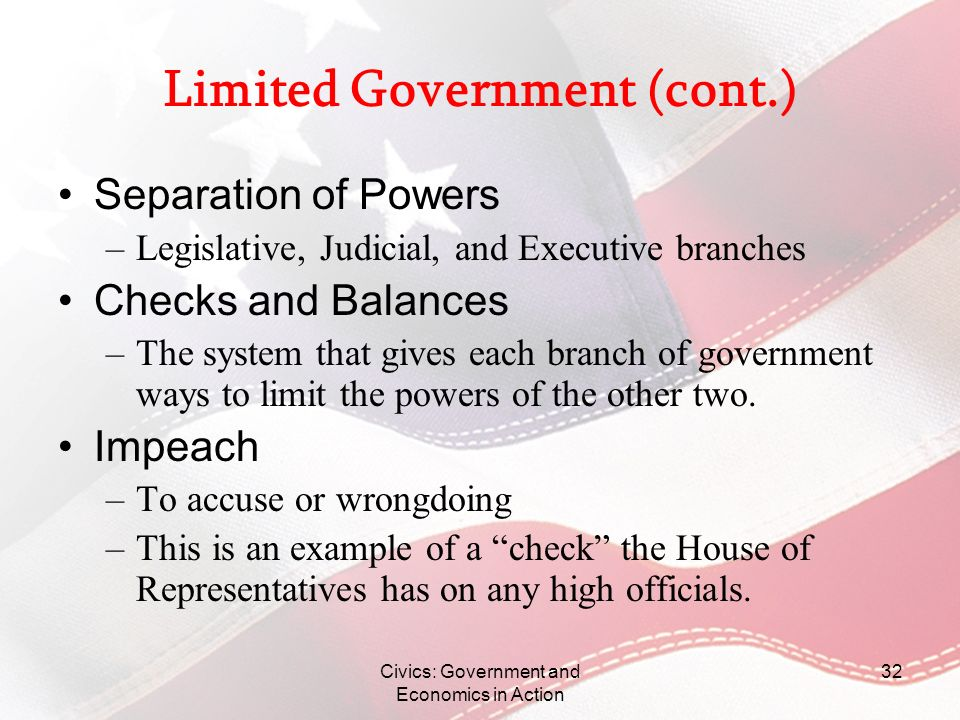 Limited Government (cont.)
