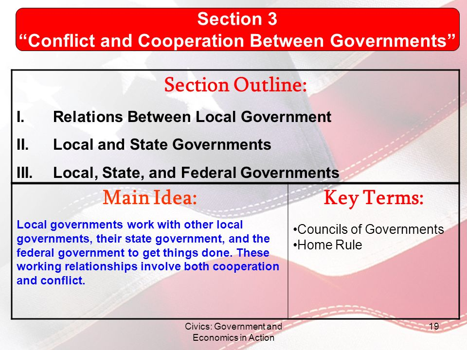 Conflict and Cooperation Between Governments