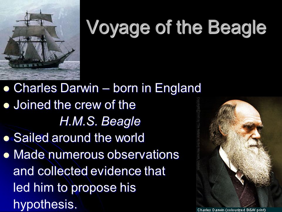 Voyage of the Beagle Charles Darwin – born in England