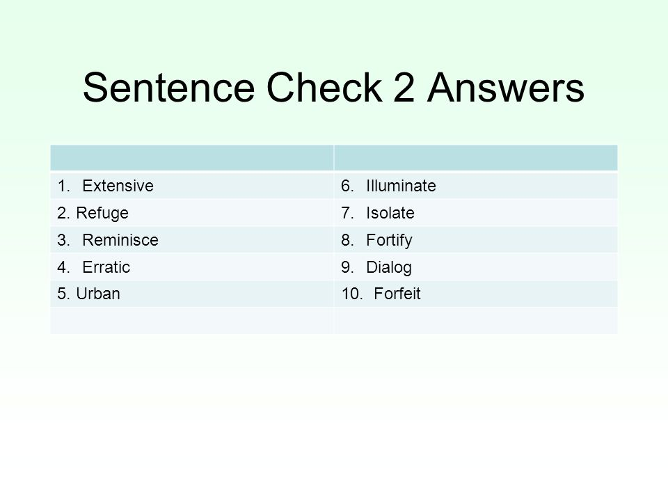 Sentence Check 2 Answers