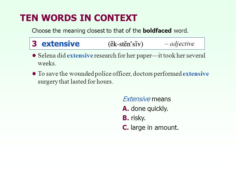 TEN WORDS IN CONTEXT 3 extensive – adjective