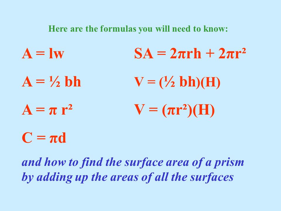 Here are the formulas you will need to know: