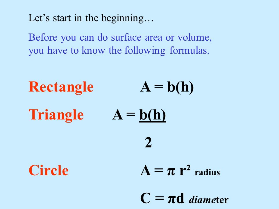 Rectangle A = b(h) Triangle A = b(h) 2 Circle A = π r² radius