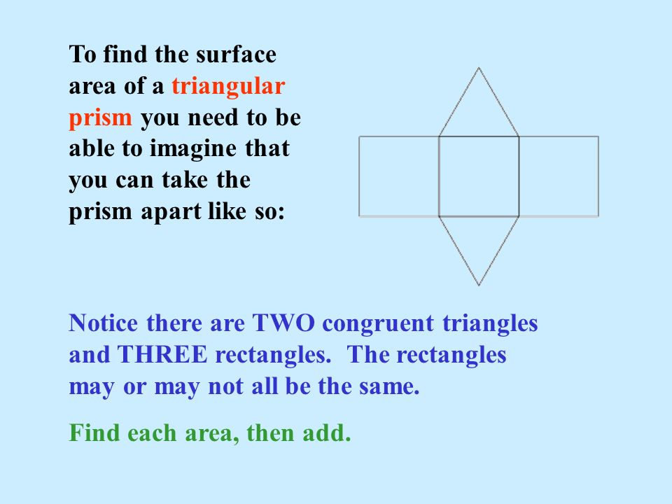 To find the surface area of a triangular prism you need to be able to imagine that you can take the prism apart like so: