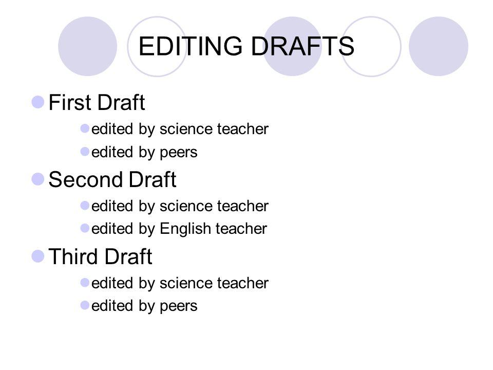 EDITING DRAFTS First Draft Second Draft Third Draft
