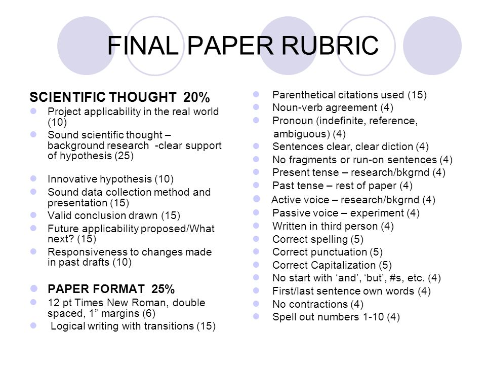 science project research paper rubric