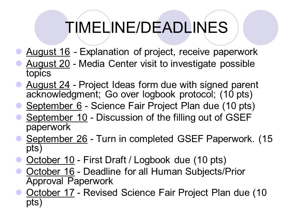 TIMELINE/DEADLINES August 16 - Explanation of project, receive paperwork. August 20 - Media Center visit to investigate possible topics.