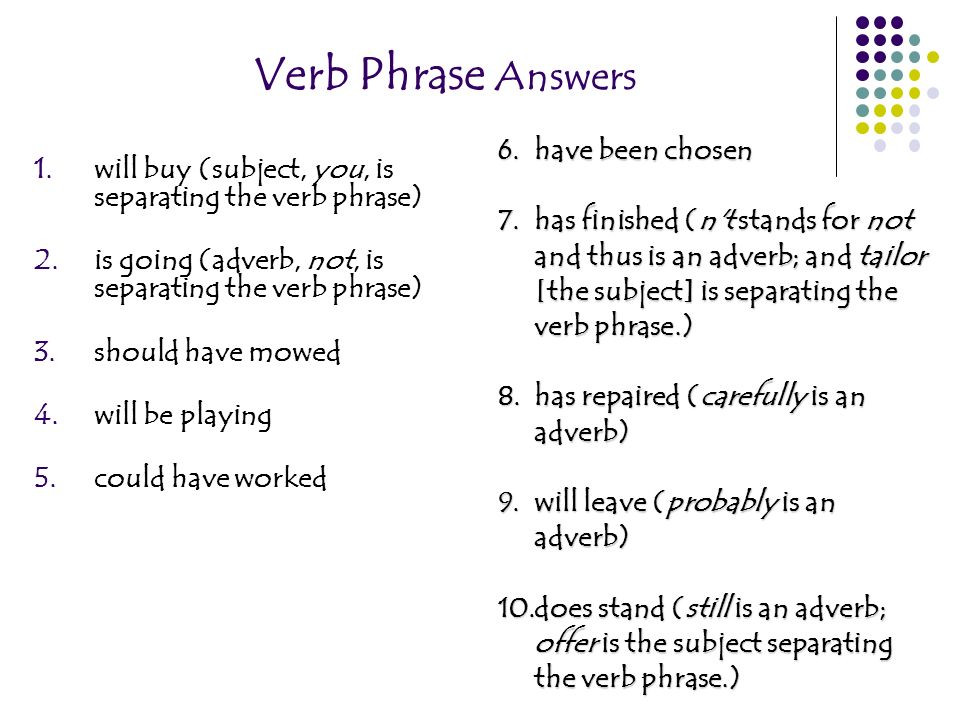 Verb Phrase Answers have been chosen