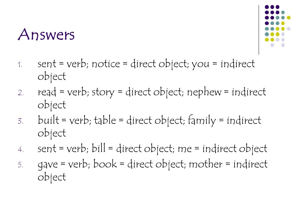 Answers sent = verb; notice = direct object; you = indirect object