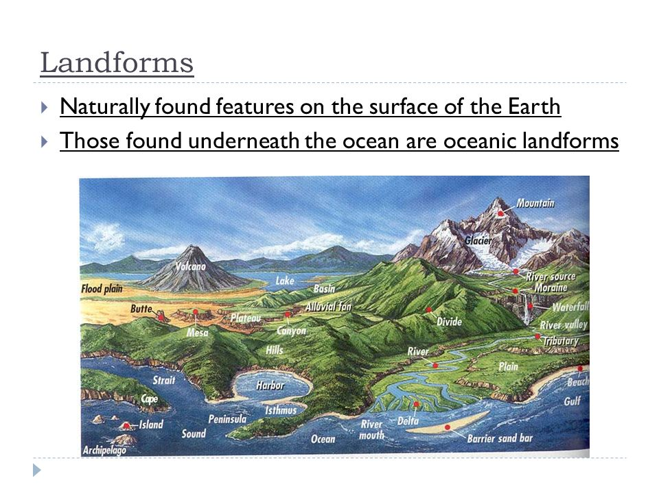 Landforms Naturally found features on the surface of the Earth