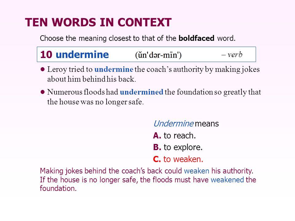TEN WORDS IN CONTEXT 10 undermine – verb