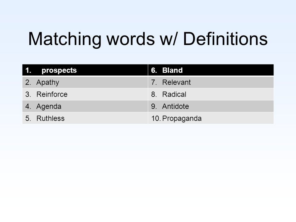 Matching words w/ Definitions