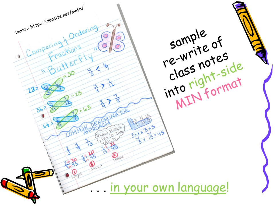 sample re-write of class notes into right-side MIN format