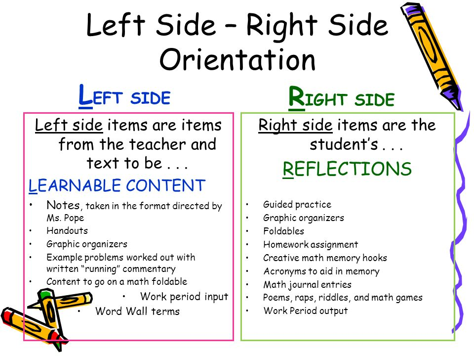 Left Side – Right Side Orientation