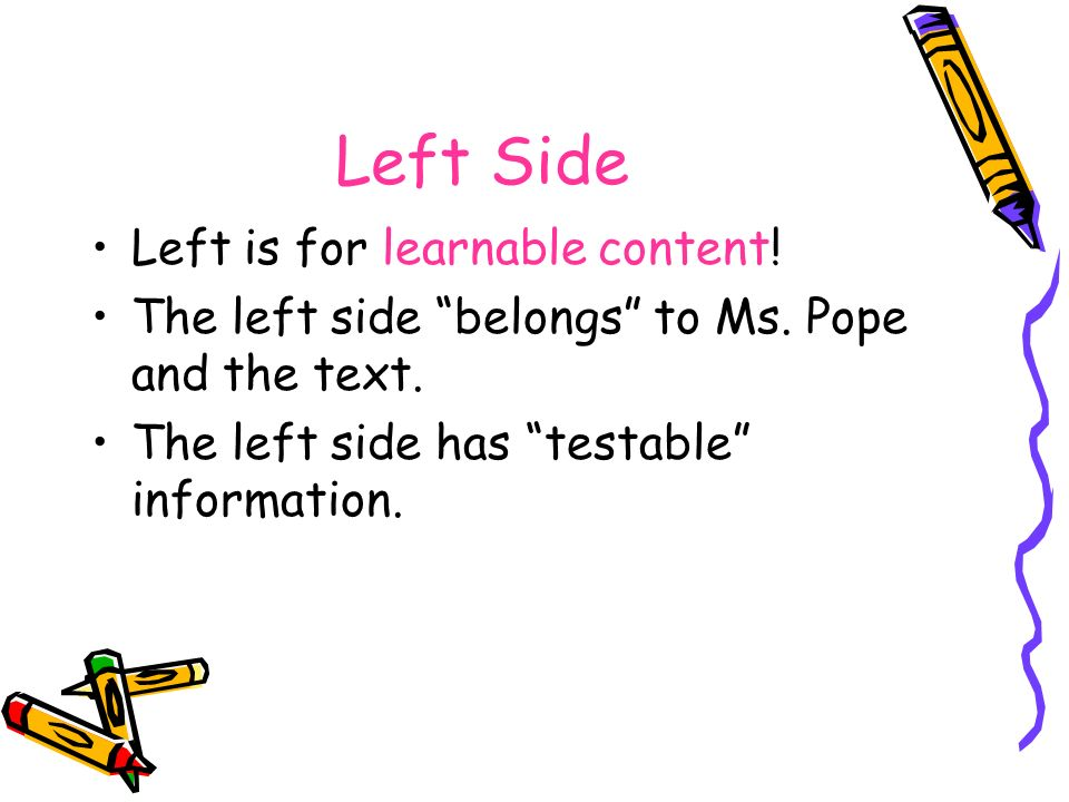 Left Side Left is for learnable content!
