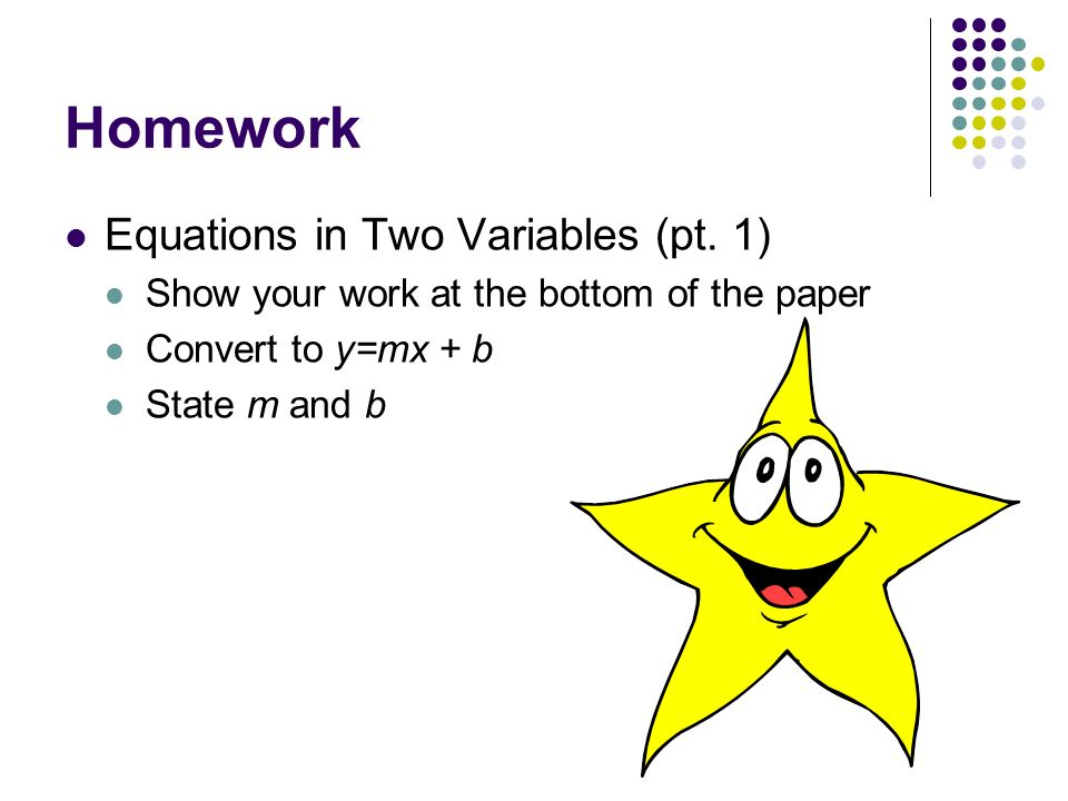Homework Equations in Two Variables (pt. 1)