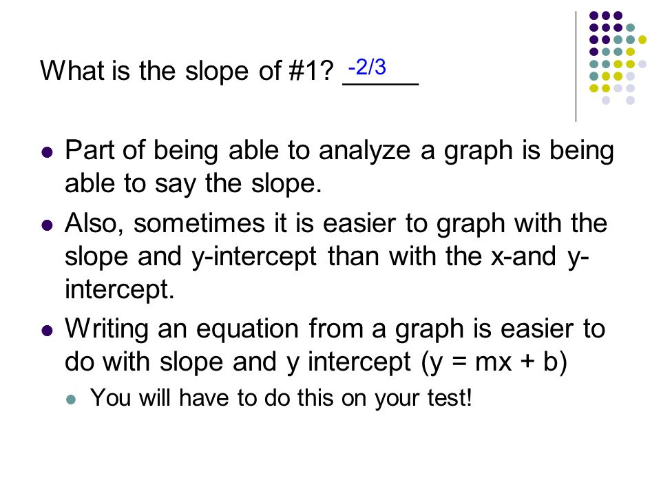 What is the slope of #1 _____