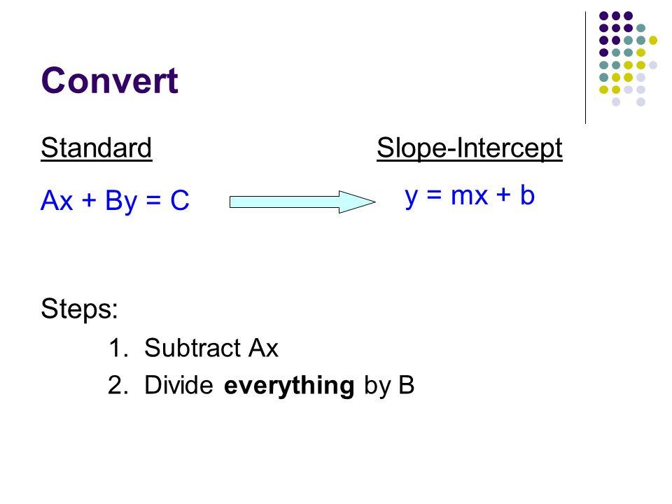 Convert Standard Slope-Intercept y = mx + b Ax + By = C Steps: