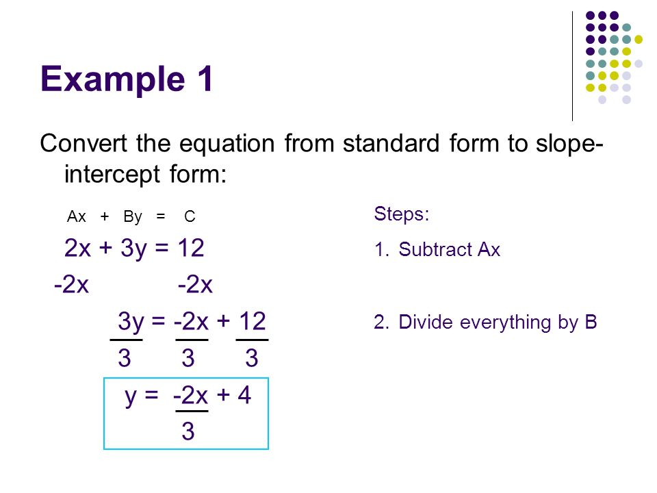 Example 1 Convert the equation from standard form to slope-intercept form: 2x + 3y = 12. -2x -2x.