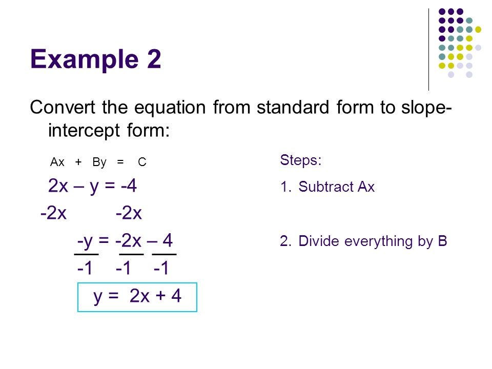 Example 2 Convert the equation from standard form to slope-intercept form: 2x – y = -4. -2x -2x.