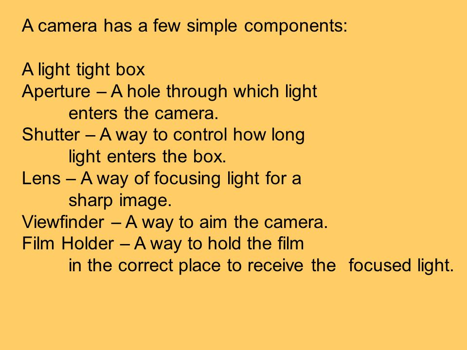 A camera has a few simple components: