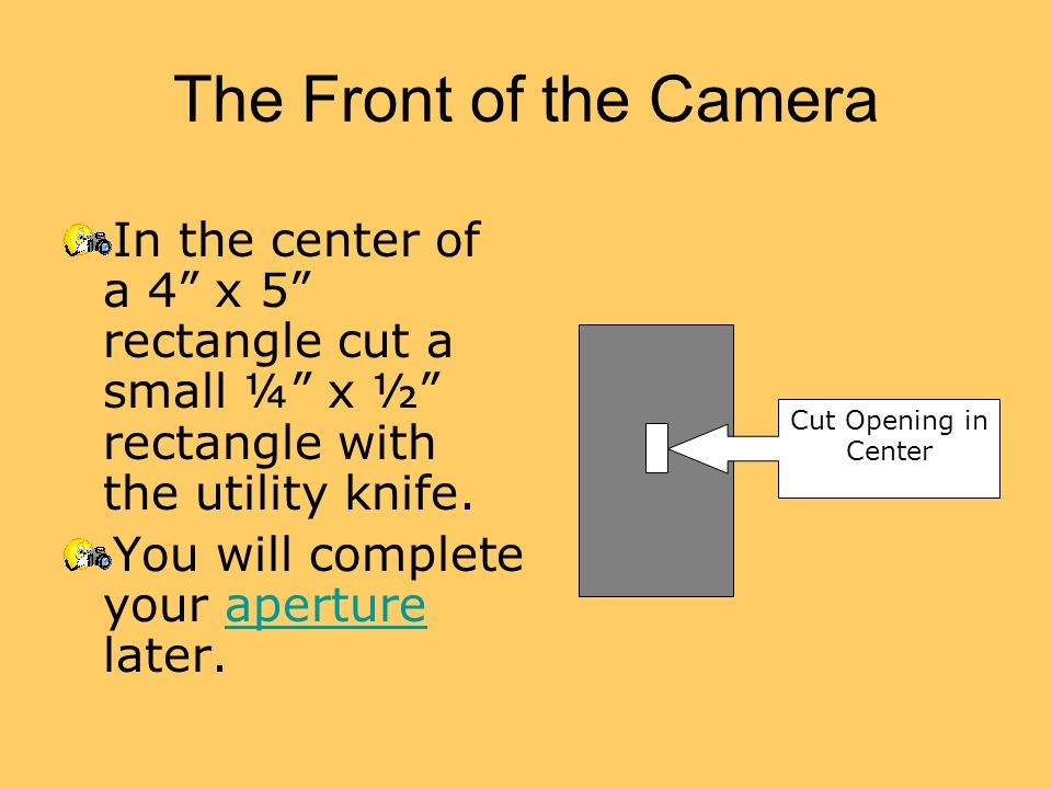 The Front of the Camera In the center of a 4 x 5 rectangle cut a small ¼ x ½ rectangle with the utility knife.