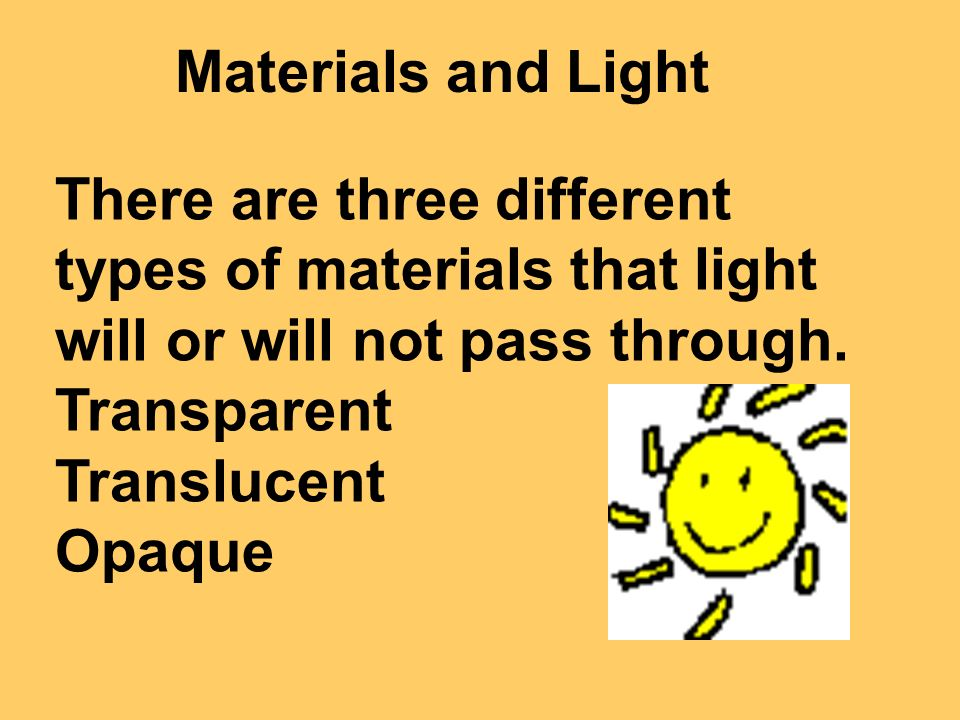 Materials and Light There are three different types of materials that light will or will not pass through.