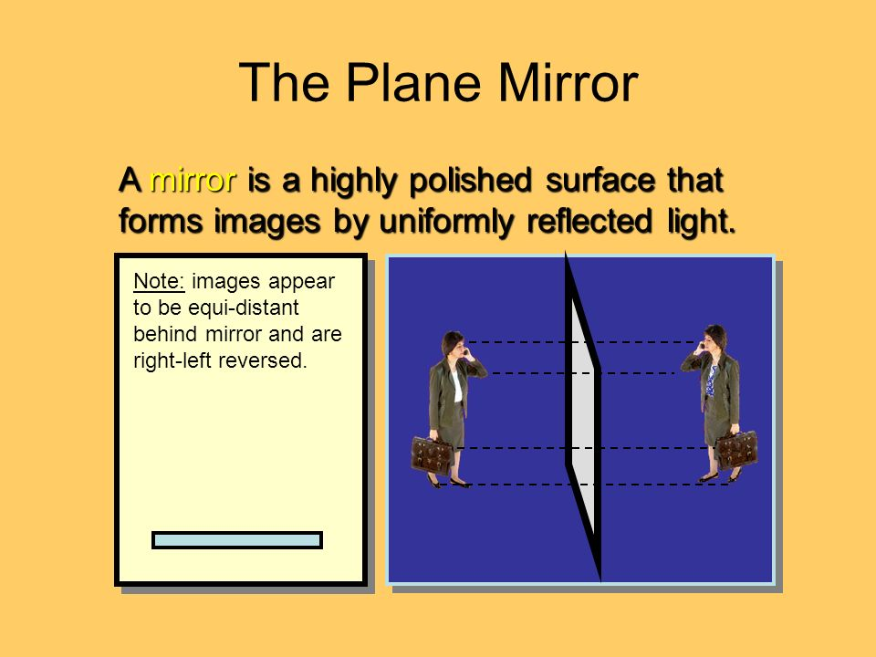 The Plane Mirror A mirror is a highly polished surface that forms images by uniformly reflected light.
