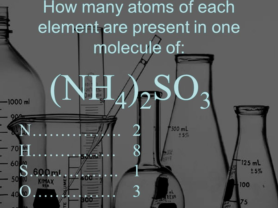How many atoms of each element are present in one molecule of: