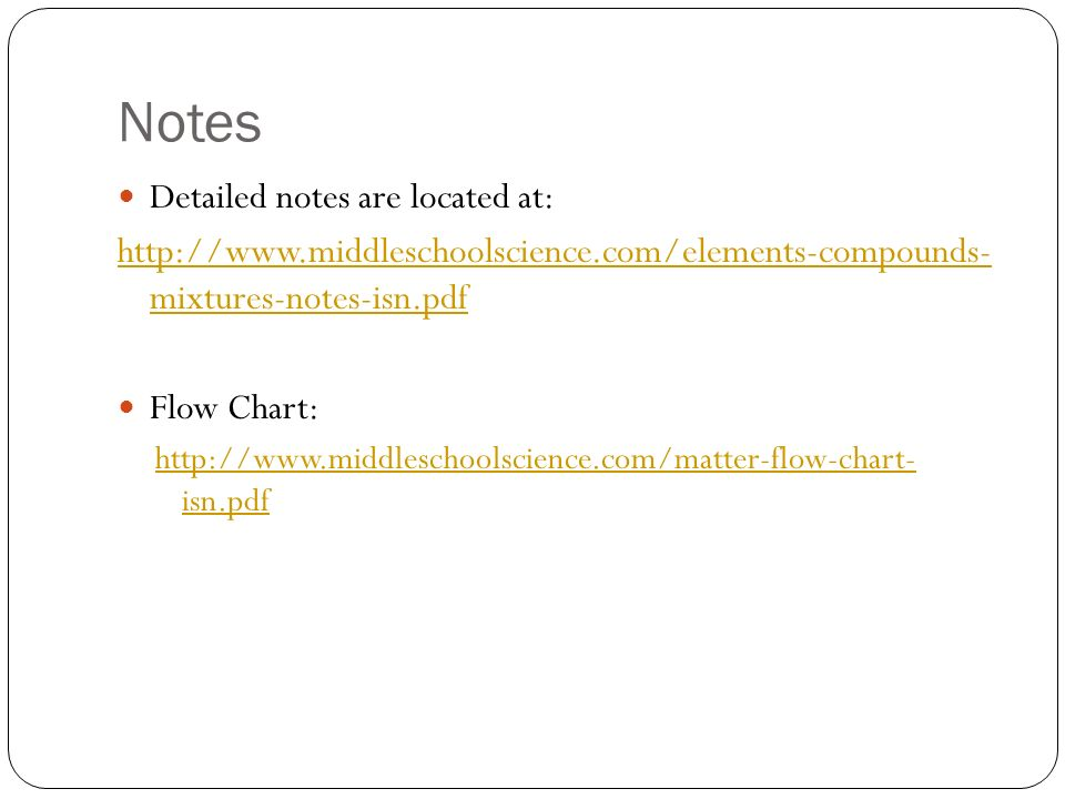 Notes Detailed notes are located at: