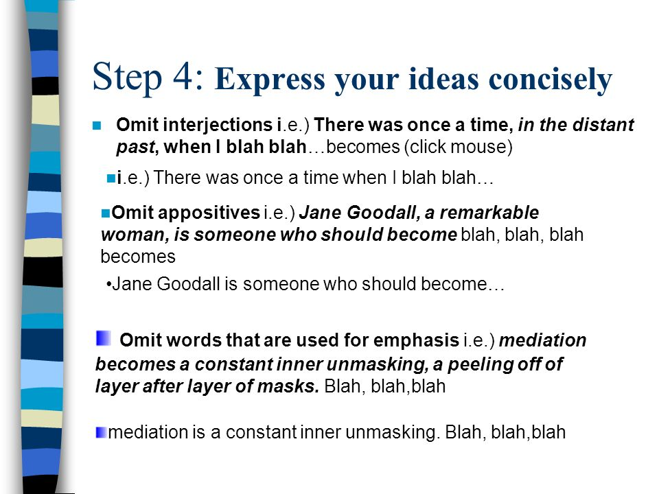 Step 4: Express your ideas concisely