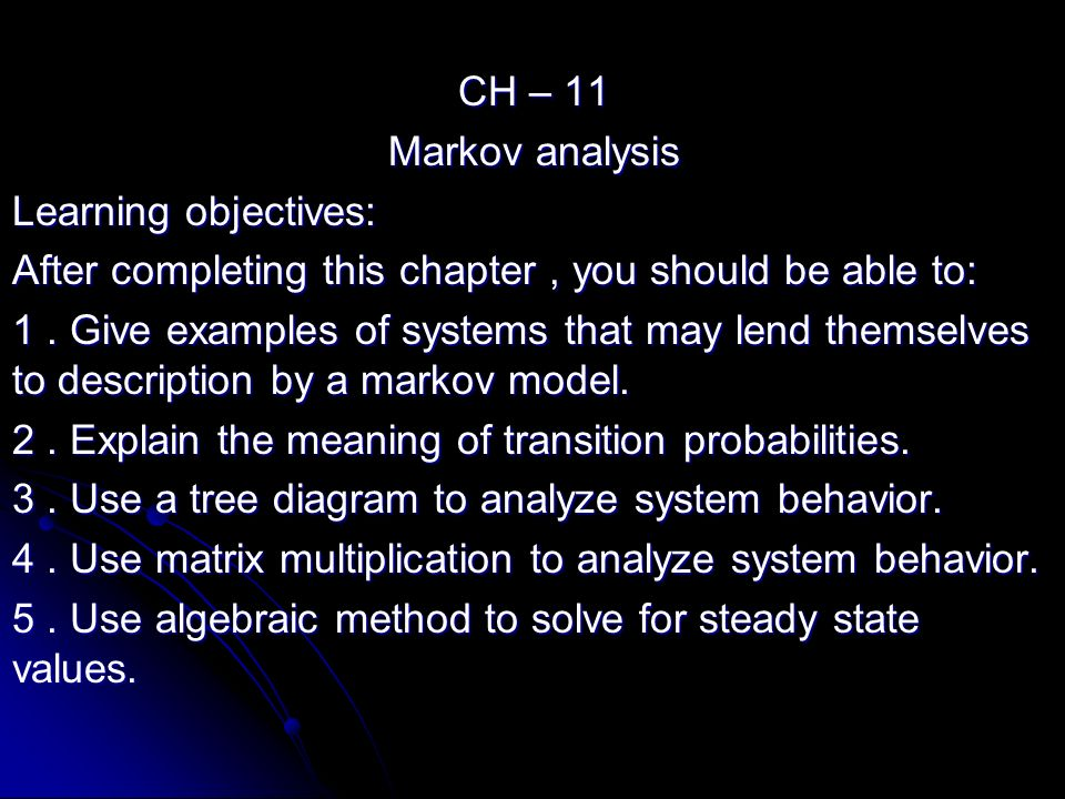 markov s analysis Markov analysis is named for the russian mathematician andrei andreevich markov, who died in 1922 a markov chain or a markov process is defined as a sequence of.