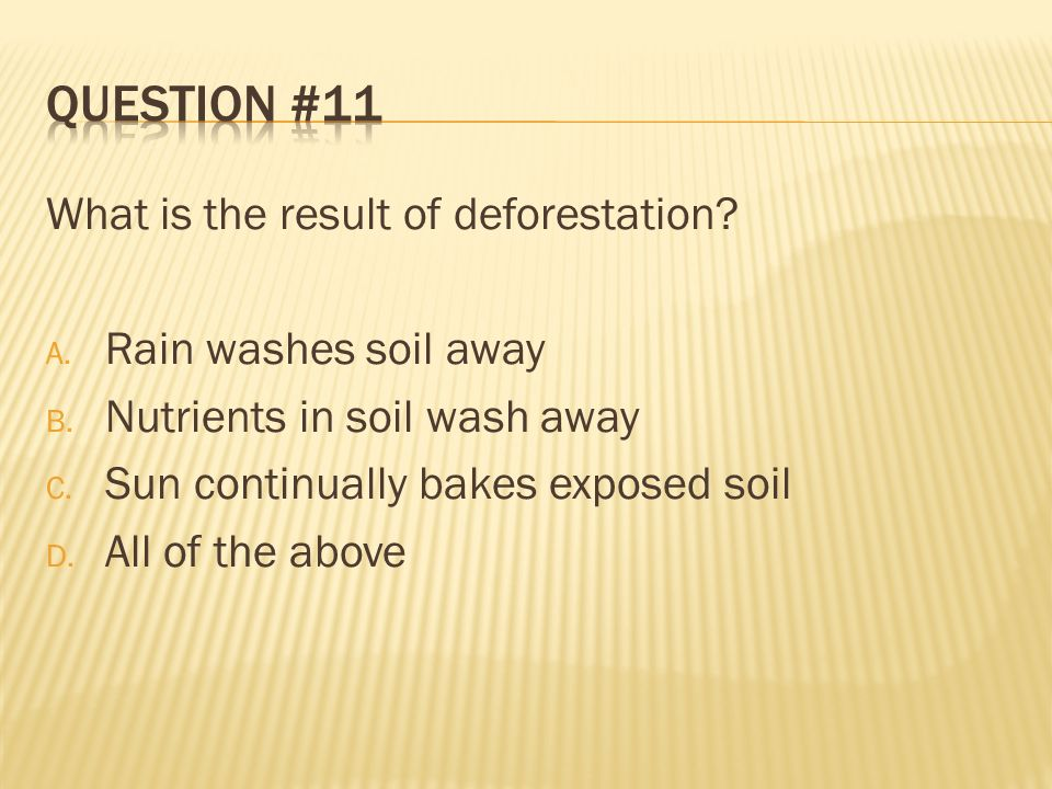 Question #11 What is the result of deforestation