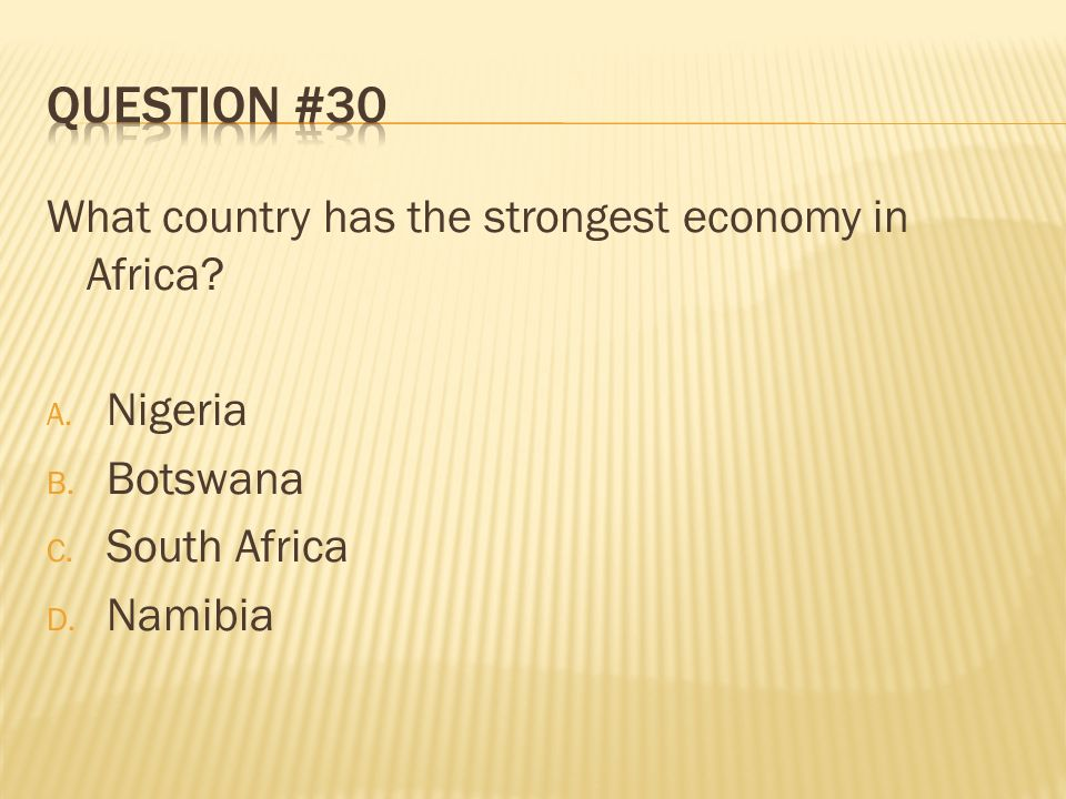 Question #30 What country has the strongest economy in Africa Nigeria