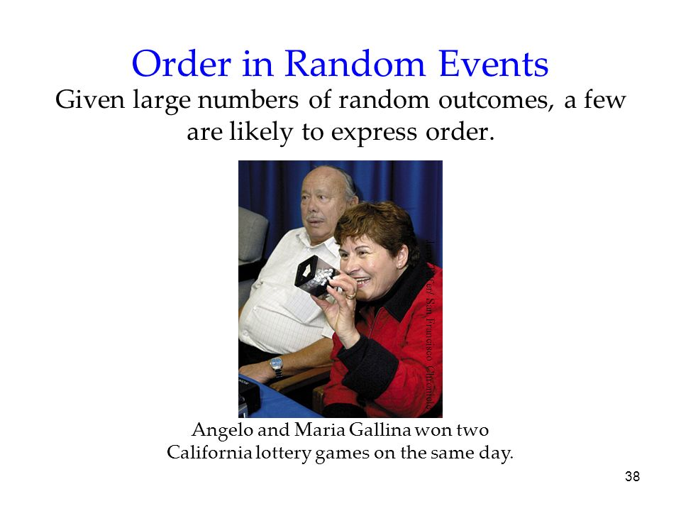 Order in Random Events Given large numbers of random outcomes, a few are likely to express order. Jerry Telfer/ San Francisco Chronicle.