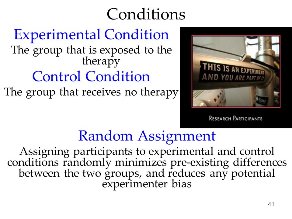 Conditions Experimental Condition Control Condition Random Assignment