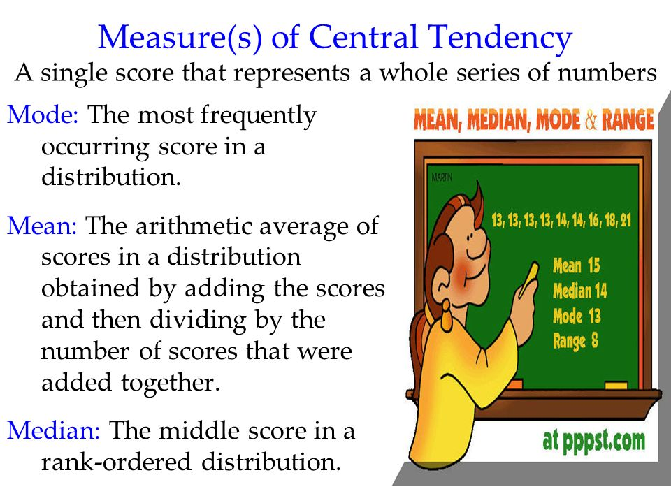 Measure(s) of Central Tendency A single score that represents a whole series of numbers